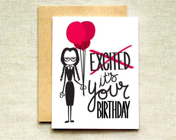 Wednesday Addams Birthday Card Addams Family Card Halloween Etsy