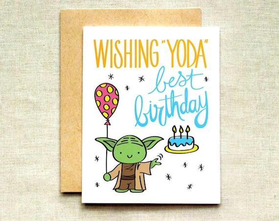 Yoda Geburtstag Karte Star Wars Geburtstagskarte Happy Etsy
