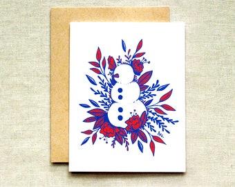 Floral Snowman Card (Individual & Bulk Card Sets), Plant Christmas Card, Snowman Card, Holiday Card