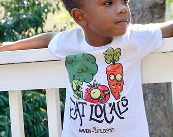Kids' Eat Locals Tee | Funny Eat Local Tee | Kids' Zombie Tee | Kids' Farmer's Market Tee | Toddler Short Sleeve Tee