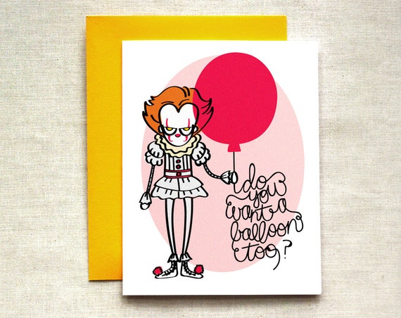 Pennywise Birthday Card Clown Birthday Card Halloween Etsy