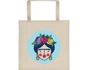 Frida Tote Bag, Frida Canvas Tote Bag, Frida Market Bag, Feminist Tote Bag, Farmers Market Bag