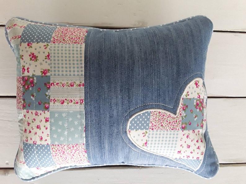Handmade applique heart cushion cover hearts denim cushion etsy