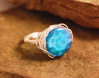 Wire-wrapped Moon and Stars Ring