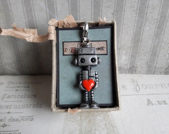 OOAK cute robot charms, robot pendants, robot jewellery, robot and red love heart, valentine friendship charm, friendship gift
