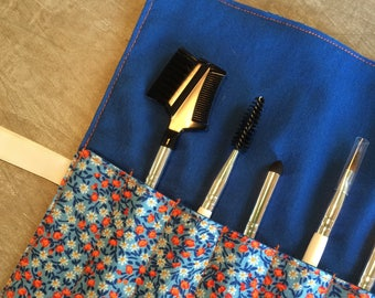 Roll-Up Cosmetic Brush Case | Makeup Brush Roll | Blue Floral