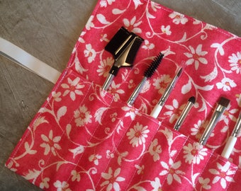 Roll-Up Cosmetic Brush Case | Makeup Brush Roll | Pink Floral