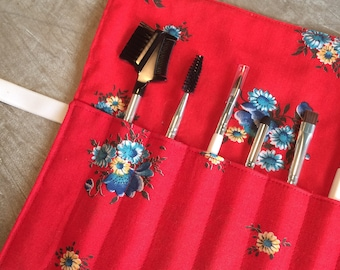 Roll-Up Cosmetic Brush Case | Makeup Brush Roll | Red Floral
