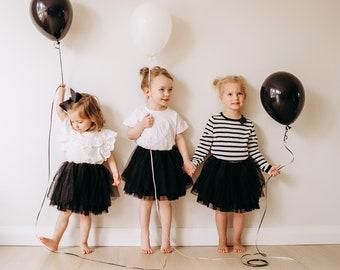 BLACK Baby, Toddler, Girl, Black Tulle Skirt! Baby Tutu, Girl Tutu, Toddler Girl Black Skirt! Birthday, Wedding, Parties, School Events!