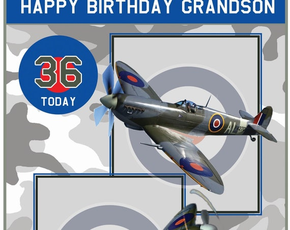 Personalised Spitfire Theme Birthday Card