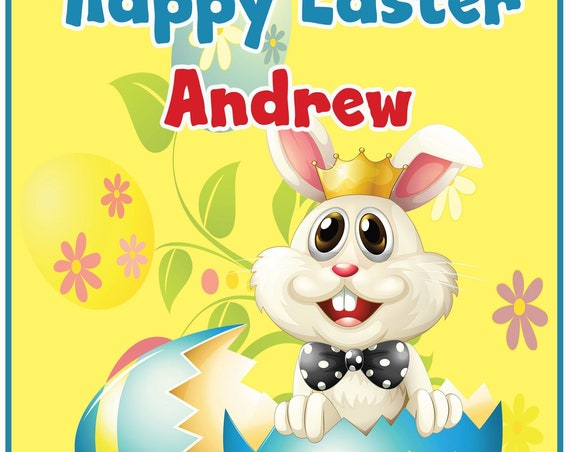 Personalised Easter Bunny Easter Card - Boy
