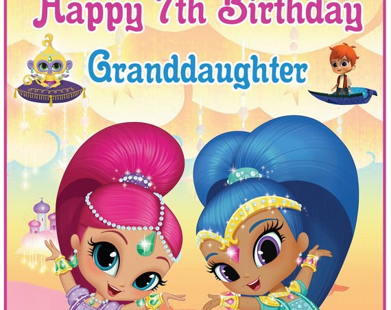 Personalised Shimmer and Shine Inspired Birthday Card