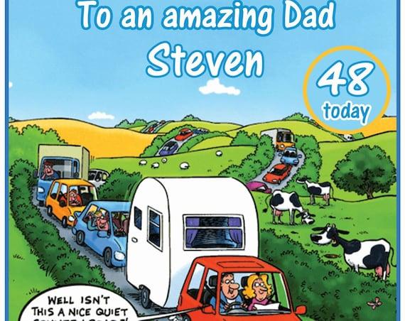 Personalised and Fun Caravan Theme Birthday Card
