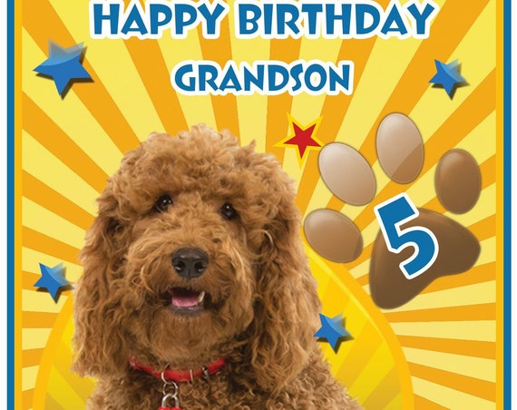 Personalised Waffle The Wonder Dog Inspired Birthday Card (2 Designs)