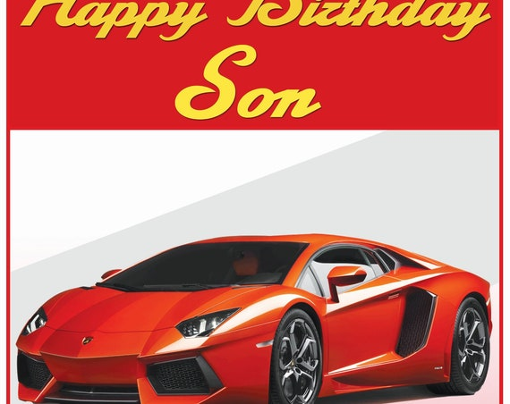 Personalised Lamborghini Theme Birthday Card (4 Colours)