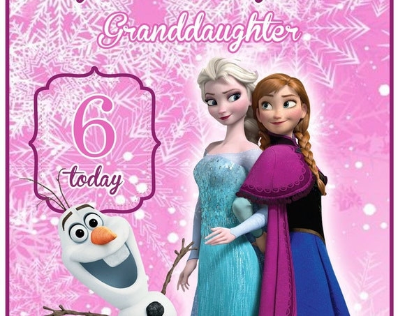 Personalised Pink Frozen Elsa and Anna Inspired Birthday Card
