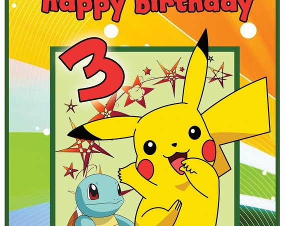 Personalised Pokemon Pikachu Birthday Card