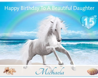 Stunning Horses On The Beach Personalised Birthday Greetings Card