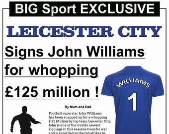 a7c7d08cb Leicester City Theme Birthday Card - Newspaper Style
