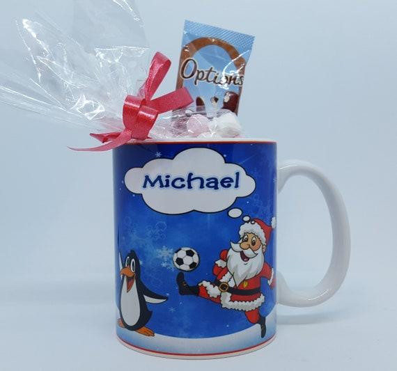 Personalised Football Santa Christmas Eve Mug