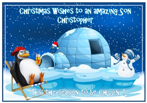 Personalised Chillin Penguin Christmas Card - Lovely !