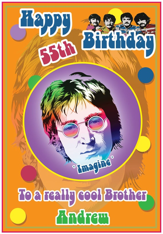 Personalised John Lennon Beatles Inspired 60s Retro Birthday Card