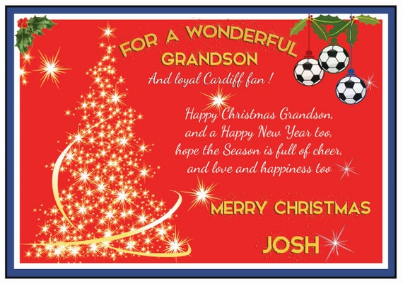 Personalised Cardiff City Theme Christmas Card (2 Designs)