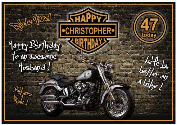 Personalised Graffiti Biker Birthday Card