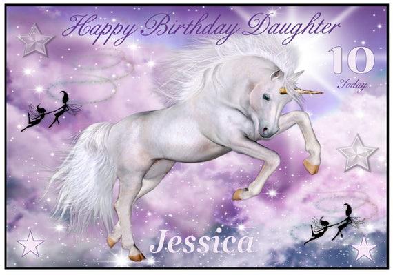 Personalised Unicorn and Fairies Birthday Card