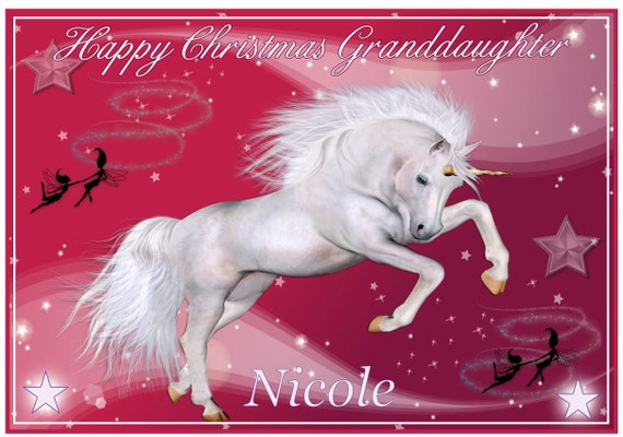 Personalised Dreamtime Unicorn Christmas Card - Lovely !