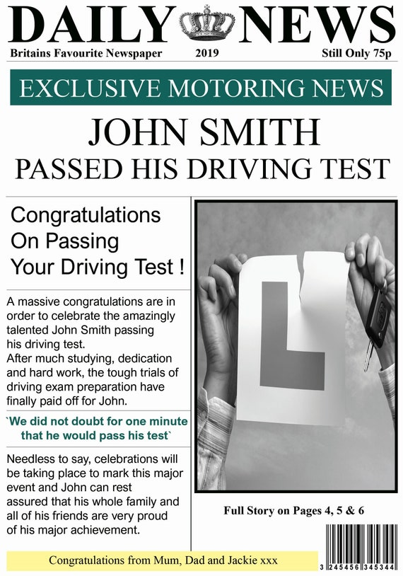 Personalised Newspaper Style Passed Driving Test Card (2 Designs)