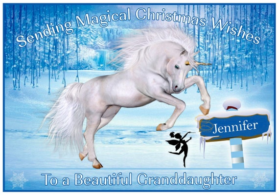 Personalised Unicorn In Forest Christmas Card - Lovely !