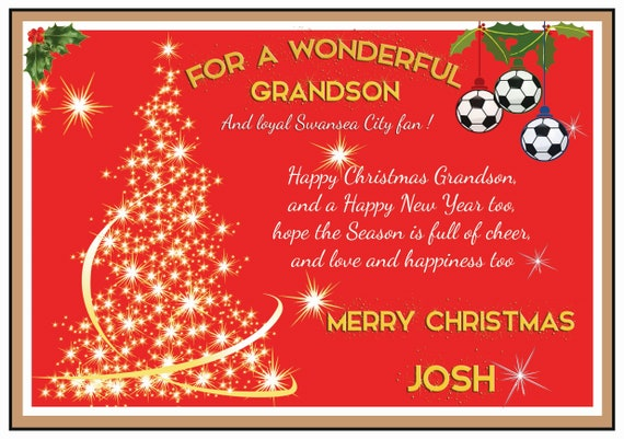 Personalised Swansea City Theme Christmas Card (2 Designs)