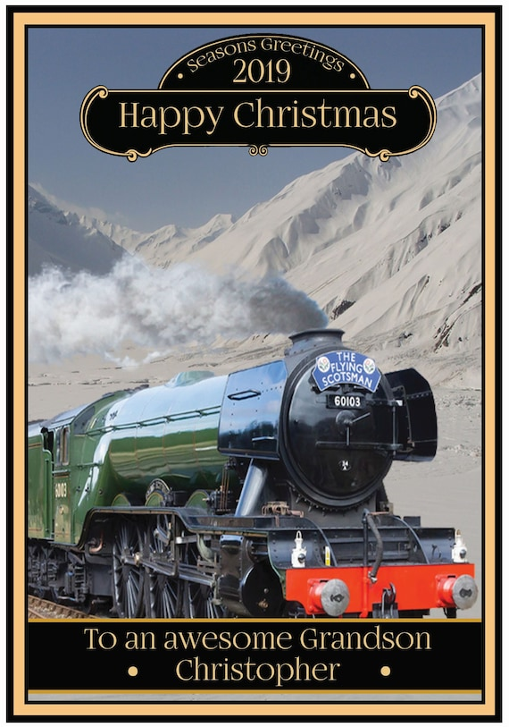 Personalised Flying Scotsman Steam Train Theme Christmas Card - Lovely !
