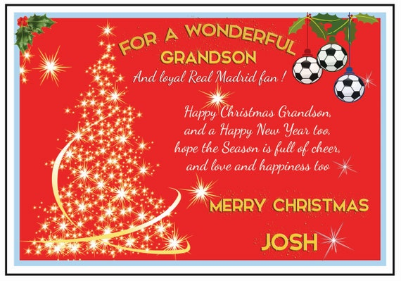 Personalised Real Madrid Theme Christmas Card (2 Designs)