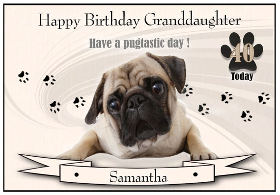 Personalised Pug Dog Theme Birthday Card