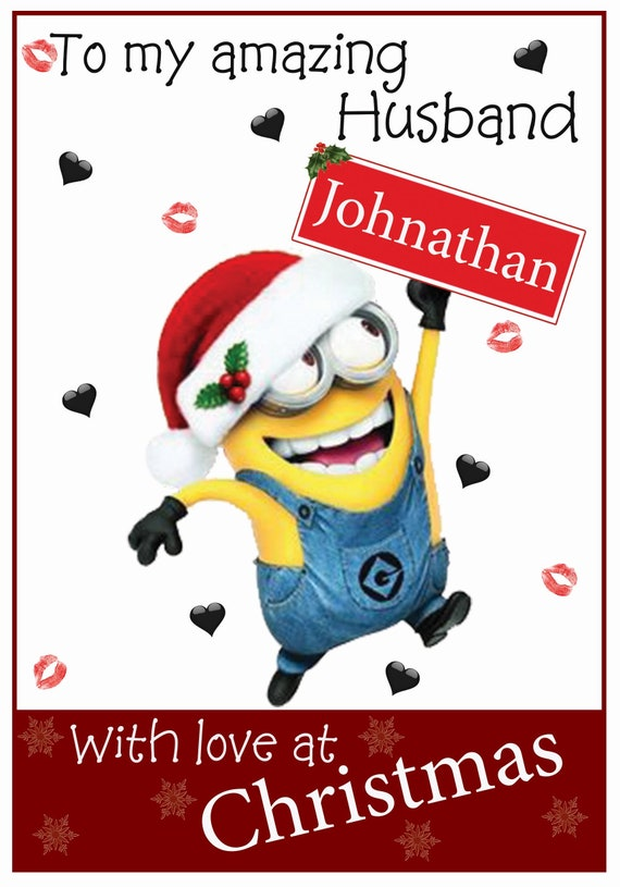 Personalised Minions Inspired Husband/Wife Christmas Card - Lovely !