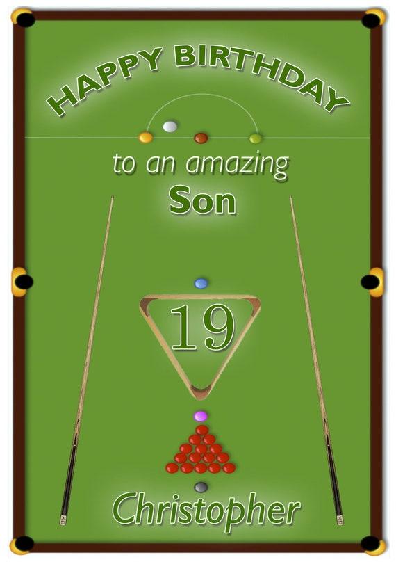 Personalised Snooker Birthday Card