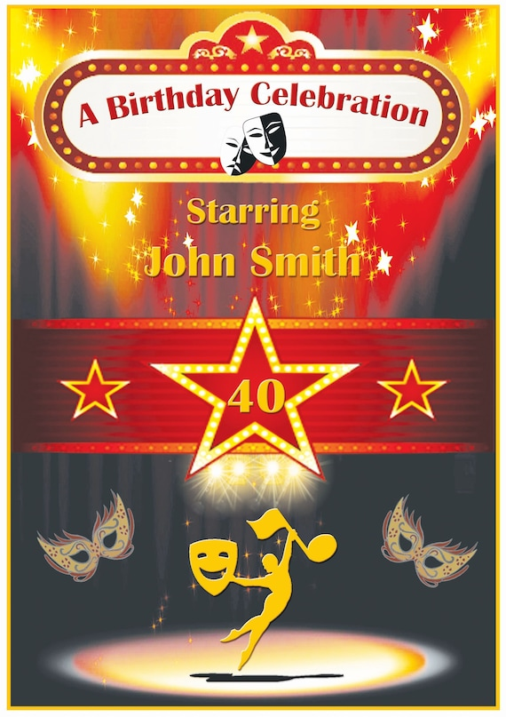 Personalised Theatre Stage Theme Birthday Card