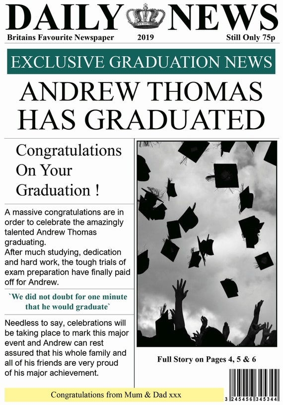 Personalised Graduation Newspaper Theme Card