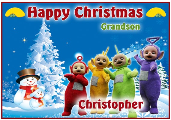 Personalised Teletubbies Inspired Christmas Card (2 Designs) - Lovely !