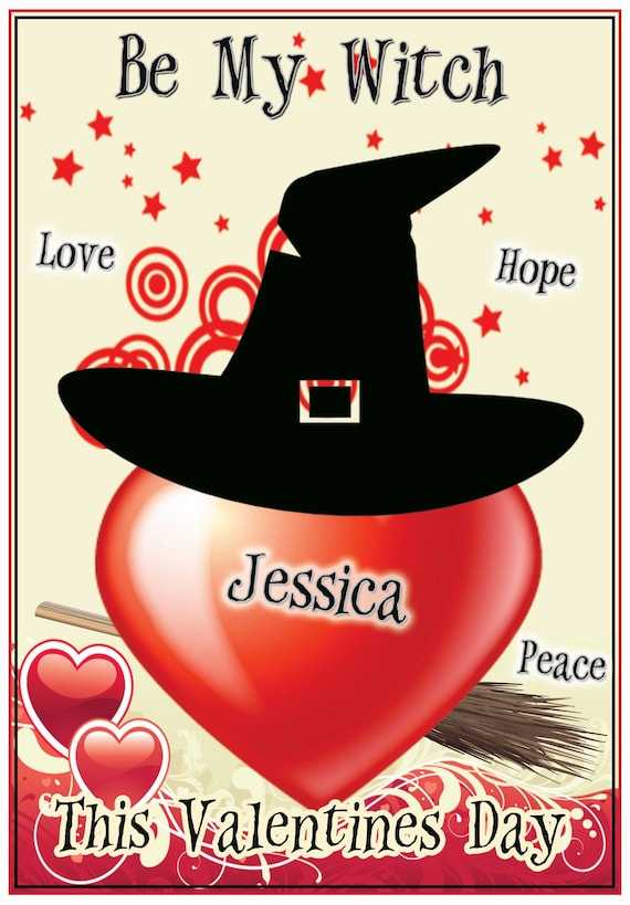 Personalised Witch Theme Valentines Card