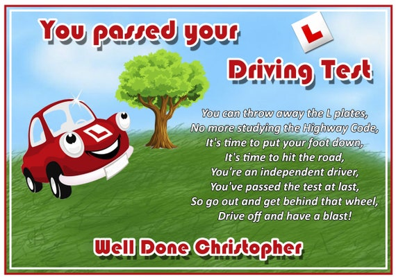 Personalised Top Of The Hill Passed Driving Test Card