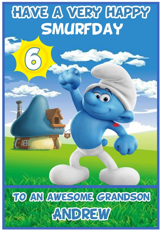 Personalised Smurfs Inspired Birthday Card - Lovely !