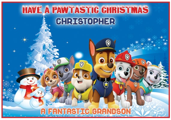 Personalised Paw Patrol Inspired Christmas Card (2 Designs) - Lovely !