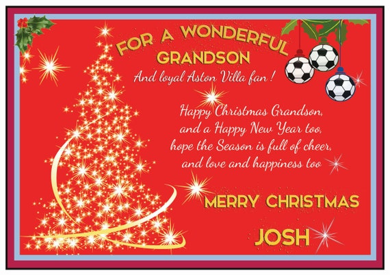 Personalised Aston Villa Theme Christmas Card (2 Designs)