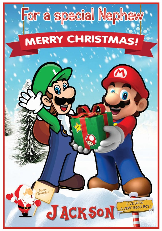 Personalised Mario & Luigi Inspired Christmas Card (2 Designs) - Lovely !