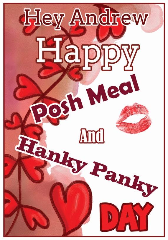 Personalised Hanky Panky Velentines Card