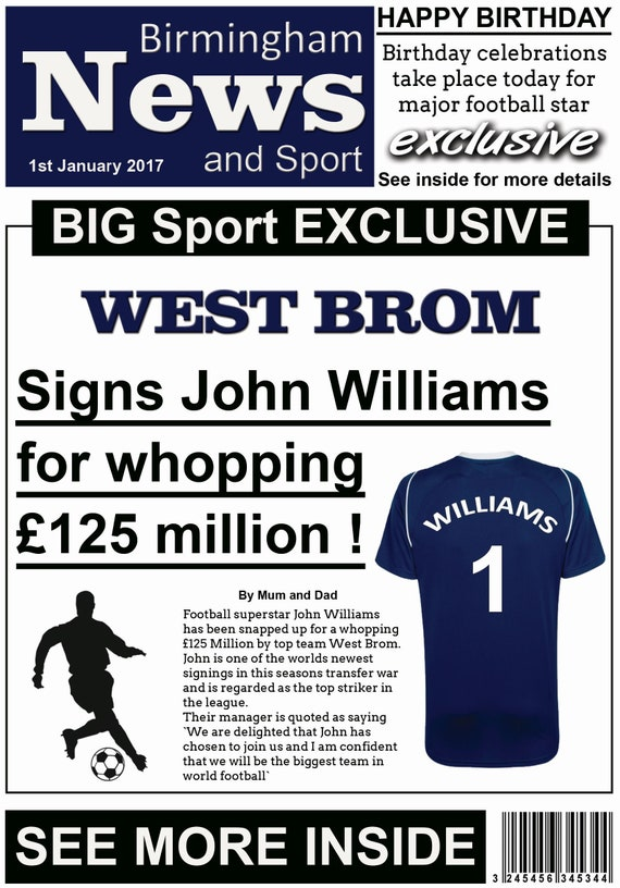 West Bromwich Albion Theme Birthday Card - Newspaper Style