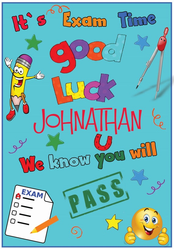 Personalised Exams Good Luck Card (3 Colours)